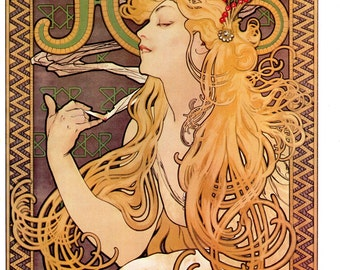 "Art Nouveau poster size Print, from Alphonse Mucha Print is 11"" x 15"""