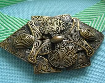 Small Etruscan Revival Czech Belt Buckle