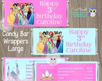 Disney Princess Candy Bar Wrapper, Princess Birthday, Disney Princess Party, Princess Candy Wrapper, Disney Princess, Candy Wrapper