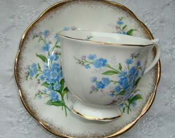 """Royal Albert """"Forget Me Not"""" Victoria - Bone China England - Vintage Tea Cup and Saucer - Forget Me Not Flowers"""