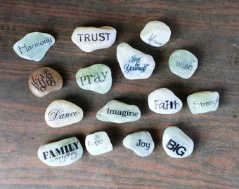 Inspirational Word Stones/ Word Rocks/Message polished jade stones- I do Custom Orders Feel Free to Contact Me!