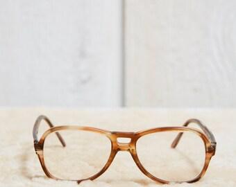 40s Sherman Light Brown and Yellow Tortoise Shell Acetate Aviator Eye Glasses • S