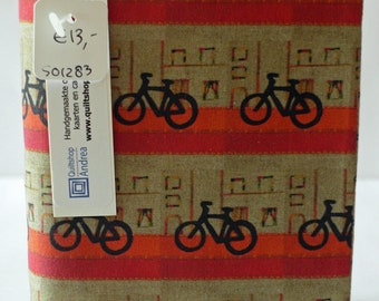Fabric covered notebook with bikes (unlined)