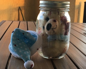 Poor Little Teddy has been put in a jam. Bloody dismembered bear in a jar. Handmade. Unique. Cute.