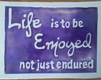 Hand-made ceramic TILE with Inspirational Quote - Carved and filled with transparent purple pearl resin