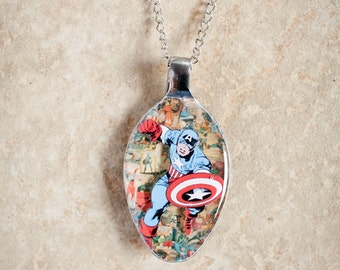 Captain America on Marvel Comics 3D Upcycled Spoon Necklace or Keychain