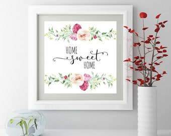 Housewarming gifts for women New homeowner gift Home sweet home print Wall art Digital print Instant download Kitchen wall art New home gift