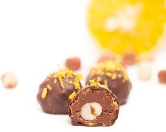Raw Vegan HAZELNUT ORANGE GIANDUJA covered in dark chocolate * praline ...