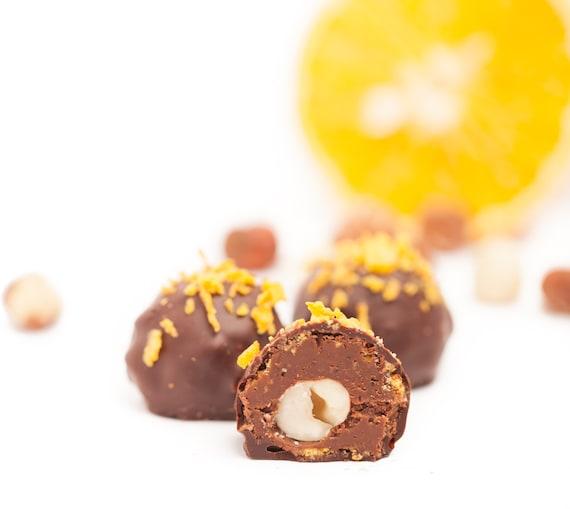 Organic Raw Vegan HAZELNUT ORANGE GIANDUJA covered in dark chocolate ...