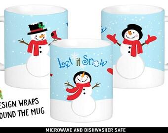 Snowman Coffee Mug - Let it Snow Mug - Winter Coffee Cup - Cute Christmas Mug