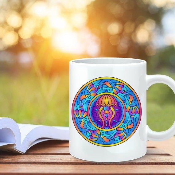 Coffee Mug Jellyfish Mandala Design Coffee Cup - Jellyfish Coffee Mug