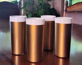 Vintage Thermal Picnic Tumblers Insulated Gold  Plastic Glasses Set of 4