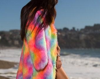 RAINBOW Universe | Burning Man Coat | Playa jacket Unicorn fur coat | Festival outfit |
