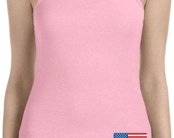 US Flag Bottom Print Ladies Spaghetti Tank Top 3991B-1011