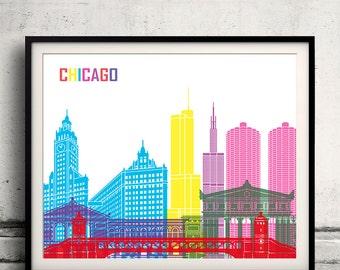 Chicago pop art skyline - Fine Art Print Glicee Poster Gift Illustration Pop Art Colorful Landmarks - SKU 1976