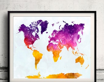 World map in watercolor 20 - Fine Art Print Glicee Poster Decor Home Gift Illustration Wall Art Countries Colorful - SKU 2131