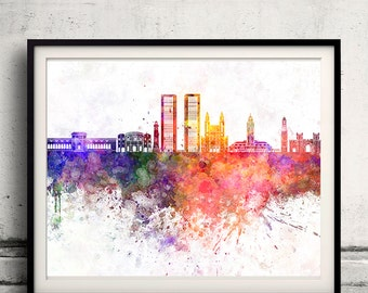 Casablanca skyline in watercolor background - Poster Digital Wall art Illustration Print Art Decorative - SKU 2163