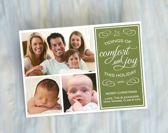Photo Christmas Cards - Holiday Cards - Greeting Cards - Tidings of Comfort and Joy this Holiday - 3477
