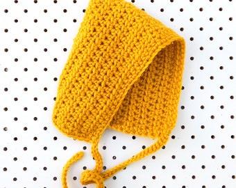 Pixie Bonnet In Mustard - READY TO SHIP - Handmade Size Newborn