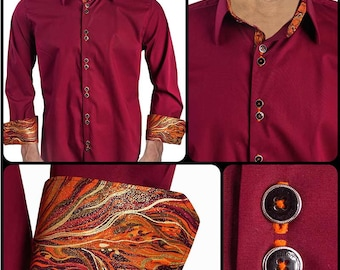 Maroon with Orange Metallic Wave Dress Shirt - Made in USA