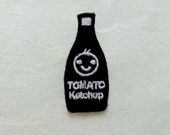 Tomato Ketchup Black Bottle Iron on Patch(S) - Tomato Ketchup Black Bottle Smiley Face Cute Applique Embroidered Iron on Patch
