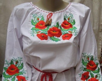 Ukrainian Embroidered children's Shirts Blouse for girl Poppies Growth of the child 130 cm