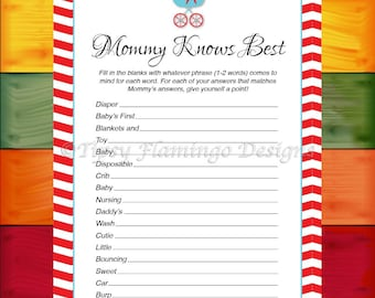 Baby Shower Game, Mommy Knows Best, Game, Neutral, Aqua Blue and Red, Vintage, Stroller, Baby Games, Printable, Instant Download-TFD39