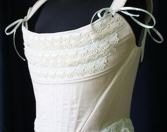 Milk-white Rococo Corset, 18th Century Undergarnment, Madame de Pompadour Corset