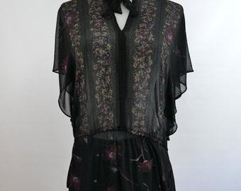 1970s Sheer Black Floral Blouse with Short Flutter Sleeves - Large