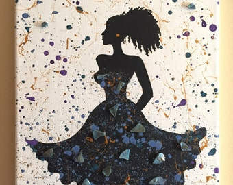 Special Edition Night Life on canvas/glass art/abstract/splatter/acrylic/afro curls/blue, purple, Aztecs gold metallic