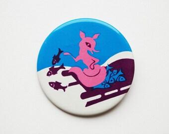 Vintage 6 cm (2.36'') fox animal nature fairytale pin brooch badge token clasp pinion tin aluminum cordon band medallion folklore