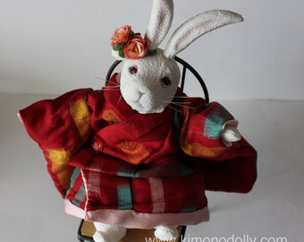 Chirimen doll Japanese white rabbit with red Kimono. Ooak dolly.