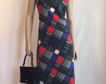 VINTAGE 1970's Psychedelic Plaid Maxi Dress * 70's Sleeveless Long Dress * 70s Red Blue Green High Neck Dress - Mod Mad Men Hostess