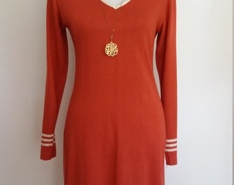 70's knit dress, S, M, v neck dress, rust dress, orange dress, knit dress, fall dress, short knit dress