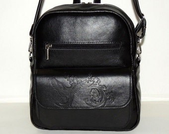 """Women black leather backpack """"Solo"""""""