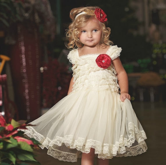 Flower Girl dress Christmas dress Ivory lace dress baby