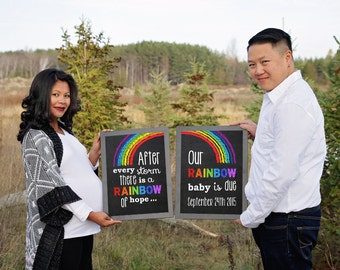 Rainbow Baby Pregnancy Announcement, Pregnancy Reveal after a loss, Pregnancy Chalkboard Sign, PDF you edit with ADOBE READER