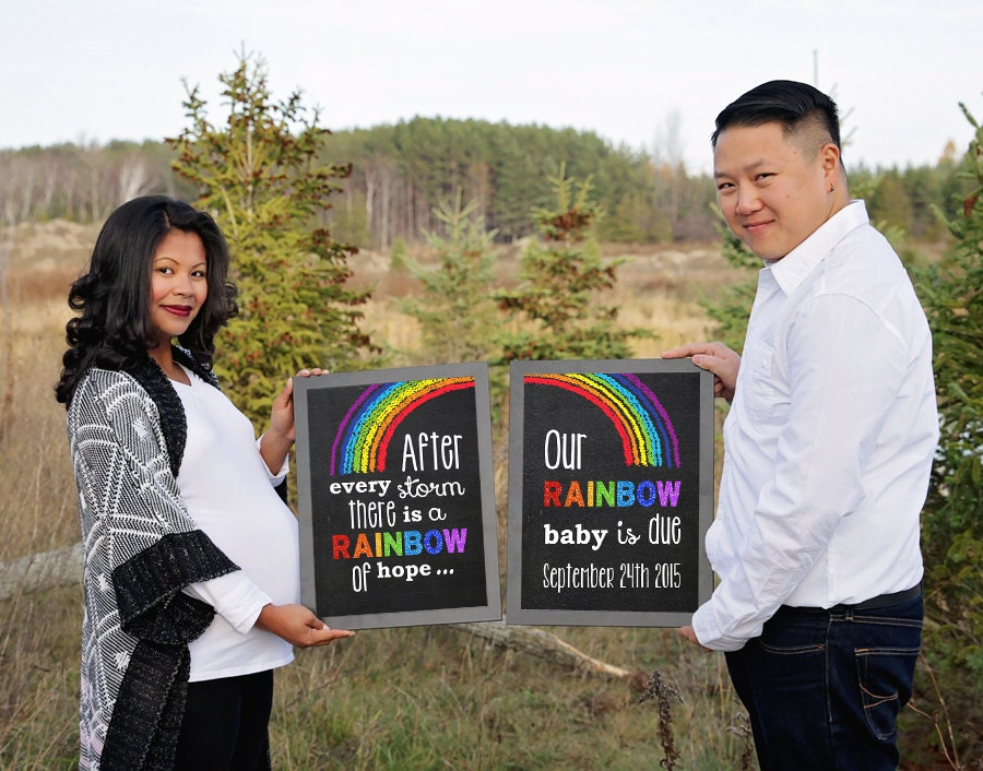 Rainbow Baby Pregnancy Announcement Pregnancy Reveal after a – Announcing Baby