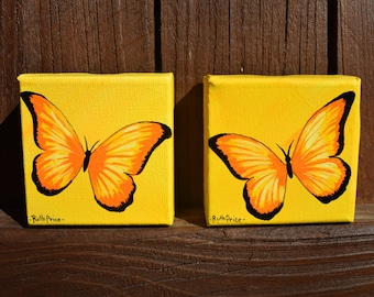 Two Tiny Treasures - Set of Yellow and Orange Butterflies on 3x3 Canvases