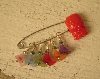 Stitch Markers Knitting Beaded Calla Lilies Silver Plated