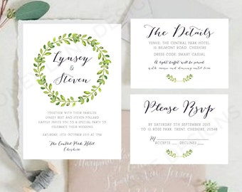 Personalised Printable Wedding Invitation Set; Invite, RSVP, Details Card - Lynsey Collection