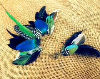 Feather ear wing / ear cuff with peacock sword, hyacinth macaw and guinea wing in vivid blue and iridescent green tones with earring
