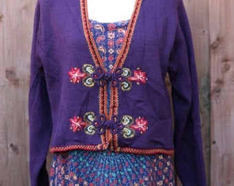 Purple Flower Embroidered Cardigan