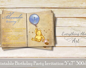 Classic pooh invite etsy classic winnie the pooh invitation classic winnie birthday invitation winnie the pooh 1st birthday filmwisefo