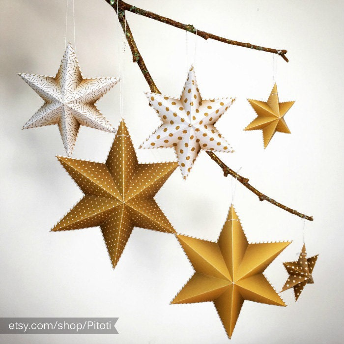 Gold party decorations instant download gold star party for 3d star decoration