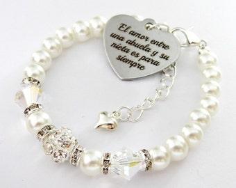 White Swarovski bicone* Abuela y su Nieta puff Heart, Grandma , Abuela Gift, Nieta Gift, Amor, Siempre , Granddaughter gift , abuela regalo