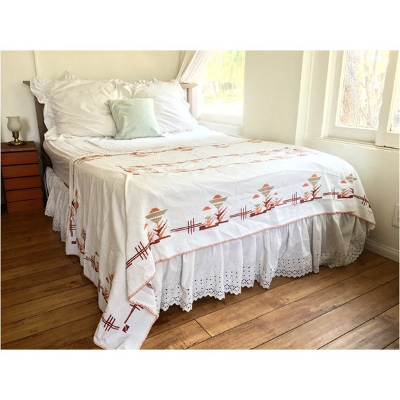 Embroidered blanket tribal mexican long bed runner boho Mexican embroidered bedding