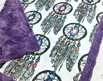 Minky Dreamcatcher Baby Blanket - Purple Hide