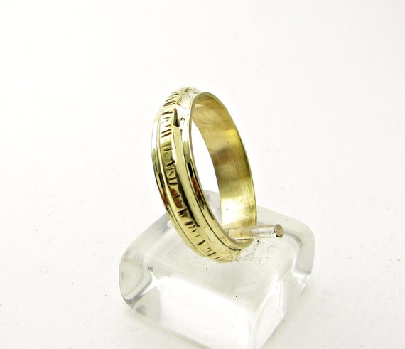 Textured Ring Hammered Brass Wedding Ring Bronze By Atermon