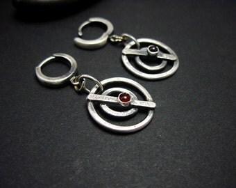 Raw Silver and Garnet Earrings, Modern Sterling Silver Earrings, Garnet Circle Earrings